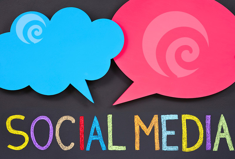 Colourful social media clouds